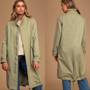 LULU'S Long Jacket Olive Green size Small